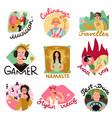 video bloggers emblems set vector image