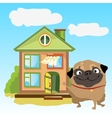 Welcoming home with dog on a landscape vector image