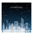 winter night in liverpool night city in flat vector image vector image