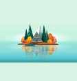 wooden a-frame house on a small island vector image
