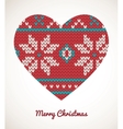 Xmas heart ornaments - seamless knitted background vector image vector image