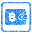 bitcoin pouch framed stamp vector image