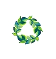 Watercolor wreath of branch with green leaves vector image