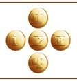 Golden coins with numerals - part 1 vector image