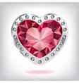 Ruby heart in diamonds vector image