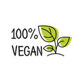 100 vegan label line style logo with green leaf vector image
