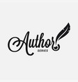 author logo with feather and ink on white vector image