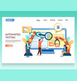 automated testing website landing page vector image vector image