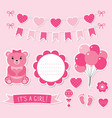 baby girl arrival set vector image