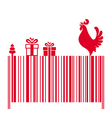 Barcode with a Red Rooster and Gifts vector image vector image