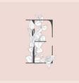 blooming floral elegant e monogram and logo vector image