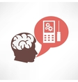Brain in the head and cellphone icon vector image