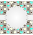 Brown card template with many hearts vector image vector image