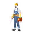 carpenter carry saw and work equipment vector image