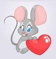 cartoon cute mouse holding a love heart vector image vector image