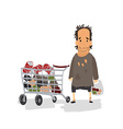 Cartoon Homeless with Shopping Cart vector image
