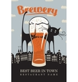 cat on roofs and a glass of beer vector image vector image