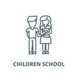 children schoolboy and girl with book line icon vector image