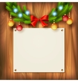 Christmas garland on wooden wall vector image vector image