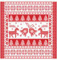 Christmas tile style withe reindeer and bells vector image vector image