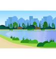 city park wooden bench street lamp river green vector image vector image