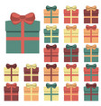 collection of twenty multi colored gift boxes vector image vector image