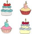 Colorful cream cupcake and cake with berry vector image vector image