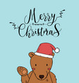 cute bear christmas greeting card vector image