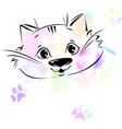 cute cat portrait sketch and watercolor vector image