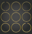 decorative gold frames and borders round set vector image vector image