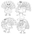 doodle animal outline of turkey in four actions vector image vector image