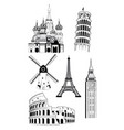 european travel destinations in ink style vector image