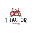 farming tractor logo design template in red color vector image vector image