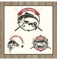 fishing tournament labels Carp fishing salmon vector image