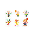 flat set of clowns in different actions vector image vector image