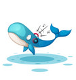 funny cute whale listen music vector image vector image