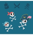 funny pirates sculls set vector image vector image