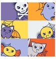 Halloween kawaii greeting cards with cute doodles vector image