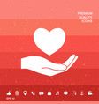 hand holding heart symbol vector image vector image