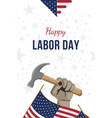 happy labor day holiday banner man holds a vector image vector image
