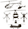 helicopters set icon vector image