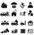 insurance and disaster icon set vector image vector image