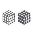 Math cube line and glyph icon block