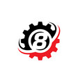 number 8 gear logo design template vector image vector image