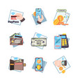 online payment icons nfc innovative mobile vector image