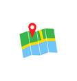 pin with map solid icon navigation and location vector image vector image