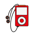 portable music player with earphones icon image vector image vector image