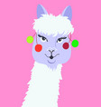 portrait of funny llama in flat style alpaca head vector image