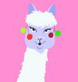 portrait of funny llama in flat style alpaca head vector image vector image