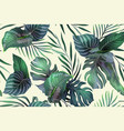 seamless pattern with exotic leaves vector image